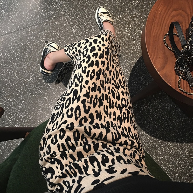 TingYiLi falda de leopardo Falda larga de lápiz con abertura de cintura alta de punto falda Sexy