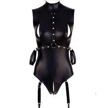Comeondear Vrouwen Pu Lederen Bodysuits Mouwloze Mock Hals Coltrui Bodysuit Met Zip Zwart Sexy Kostuums Sexy Bodysuit R80876