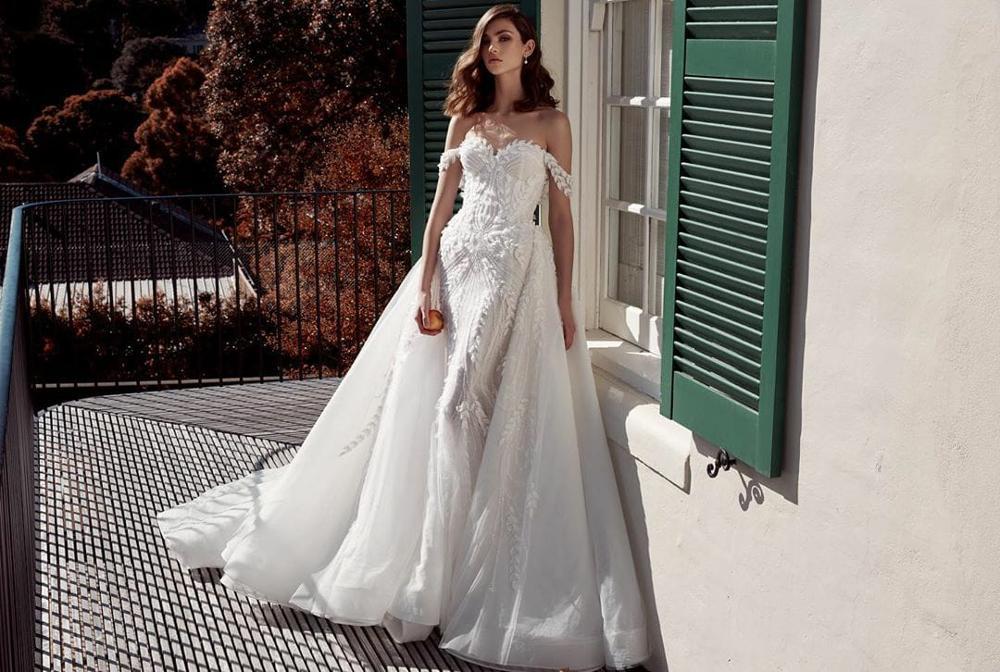 Eslieb sereia vestidos de casamento vestido de noiva remover trem 3d flor contas de renda vestido de casamento 2020