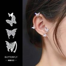 Rhinestone Simple Single Double Two Butterfly Alloy Silver Plated Metallic Women Ear Cuff Stud Earri