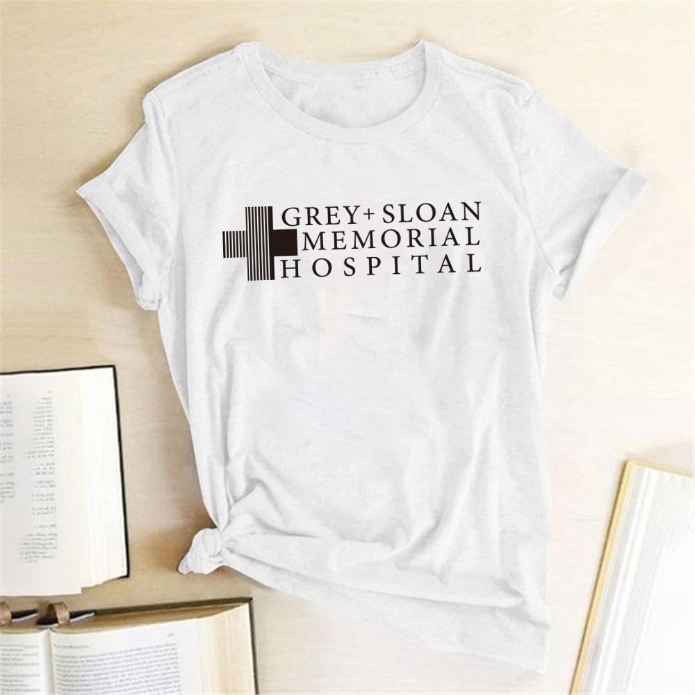 Camiseta gris con estampado de letras de Hospital de la marca Sloane, camiseta Harajuku Para Mujer