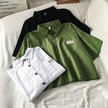 Avocado Green Women's Summer New Polo Collar Short-Sleeved Shirt Design Sense Niche Short Top