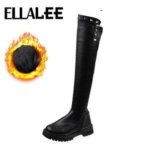 Knee High Boots Women Pu Upper Chunky Low Heel Round Toe Plush Back Zipper Rivet Black Cool Punk Long Elegant Ladies Boots