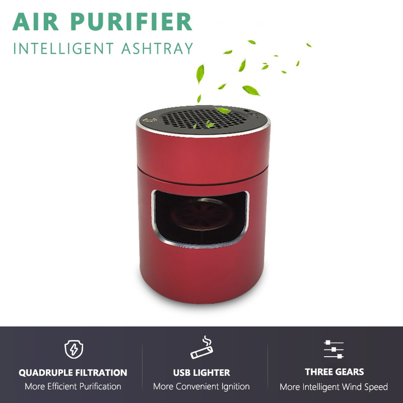 Intelligent Anion Air Purifier Ashtray Multifunctional USB Lighter Ashtray Anti Second-hand Smoke Ashtray for Hoom and Office