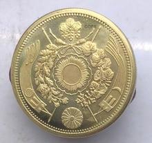 Japan 1880 20 Yen Meiji Era 13 Years Gold Coin Brass Metal Reeded Edge