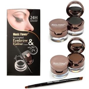 Music Flower Eyeliner Quick Drying Makeup Brushes For Eyeliner Long-lasting Waterproof Black Brown Gel Cosmetic Tool