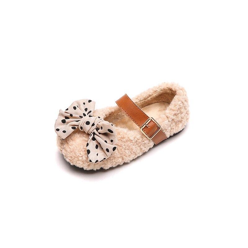 حذاء بناتي بشريط ، حذاء شتوي ، صوف مخملي ، حذاء مسطح بإبزيم