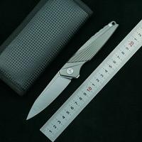 LEMIFSHE M390 blade Flipper folding knife titanium alloy handle outdoor camping fruit knife EDC tool