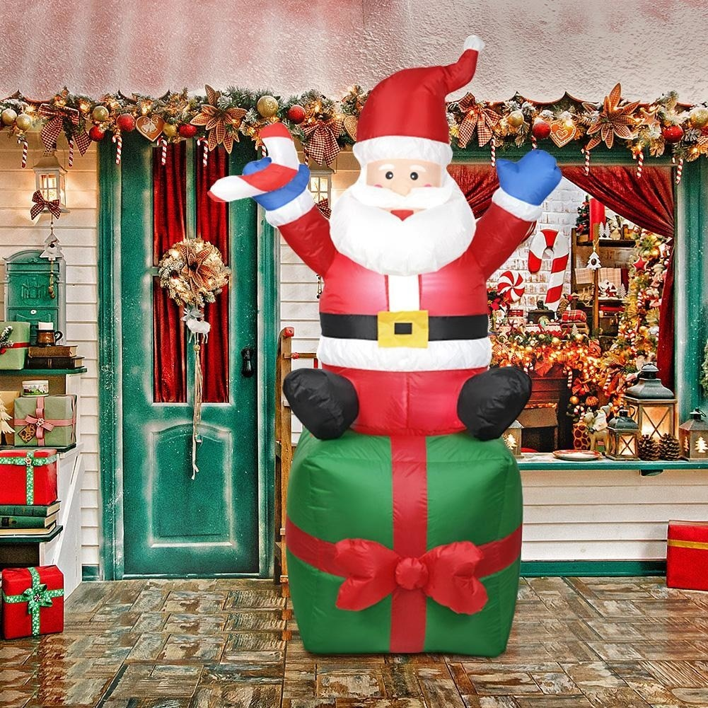 1.8M Inflatable Pop Nightlight Merry Christmas Outdoor Santa New Year Decoration Garden Soldier Toy Arrangement Props