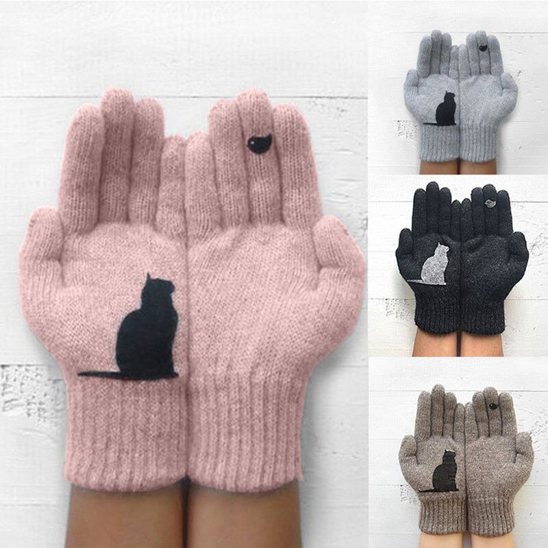 low temperature resistant gloves liquid nitrogen lng natural gas ice storage antifreeze thick warm cold gloves for adult Winter Warm Cold Cashmere Gloves Thick Cartoon Cat Print Wool Knitted Full Finger Gloves Men And Women Gloves