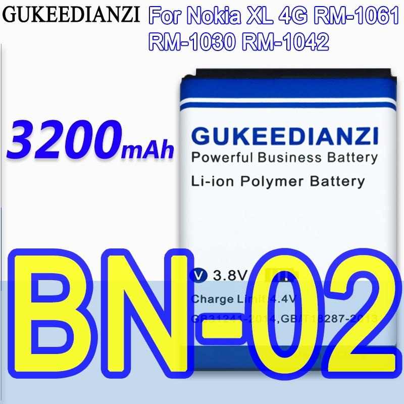 BN-02 100% nueva 3200mAh batería de Li-Ion para Nokia XL 4G RM-1061...