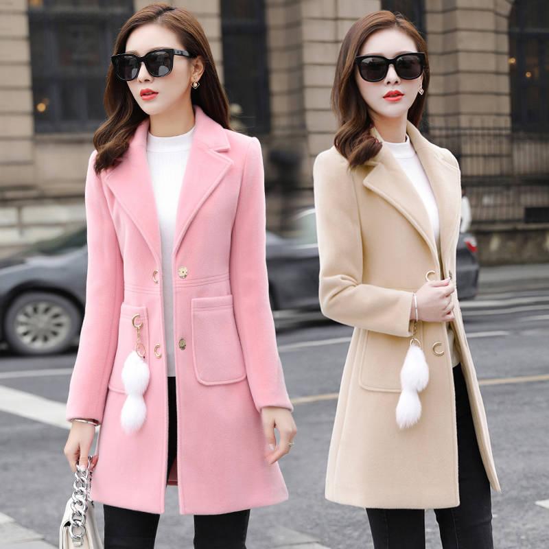 Women Spring And Autumn Coat With/no Accessories Slim Wool Coat Winter Coat Women Wool Oversize Coat For Women Woolen Coats