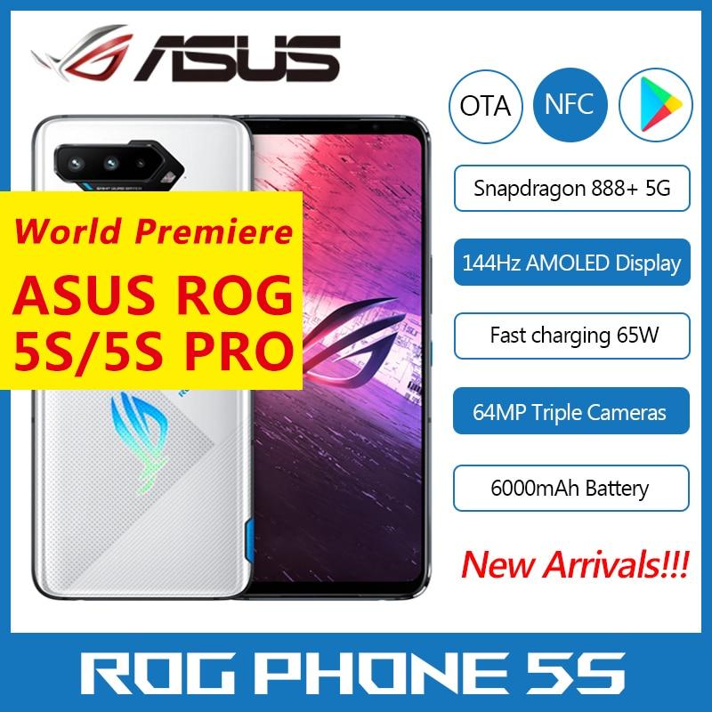 """Original Asus ROG 5S 5G Gaming Phone 6.78"""" 144Hz Display Snapdragon 888+ Plus 6000mAh Fast Charging 65W ROG Phone 5s Smartphone"""