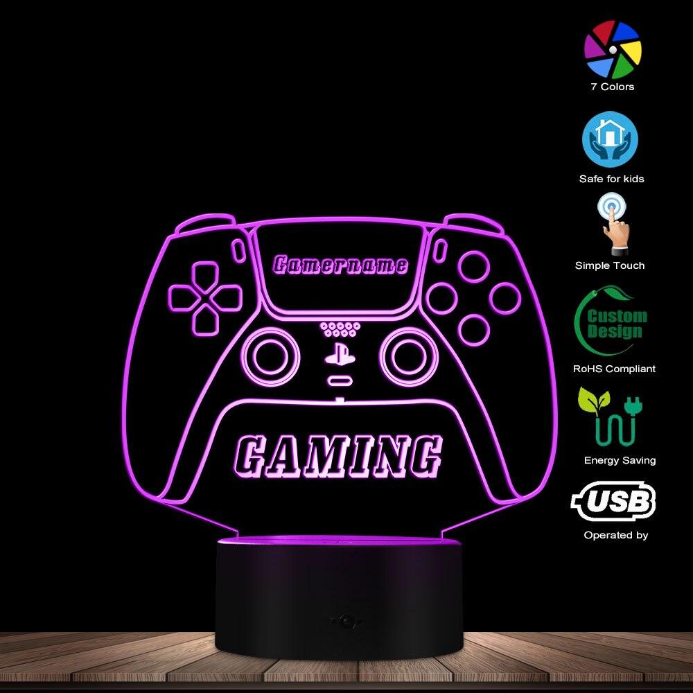 مصباح طاولة LED مع عصا تحكم ، ضوء ليلي مع اسم شخصي ، 7 ألوان قابلة للتغيير ، تحكم باللمس ، هدية محفورة للاعبين