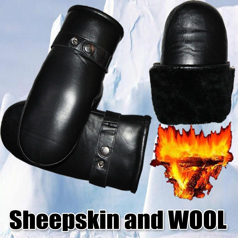 Sheepskin Gloves Men's Genuine Leather Wool Gloves Winter Thicken Warm Sheepskin Fur One  mittens  G