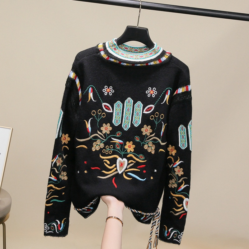 Embroidered Small Fragrant Sweater Women Autumn and Winter New Style Retro Ethnic Knit Sweater Tide Wool Sweater enlarge