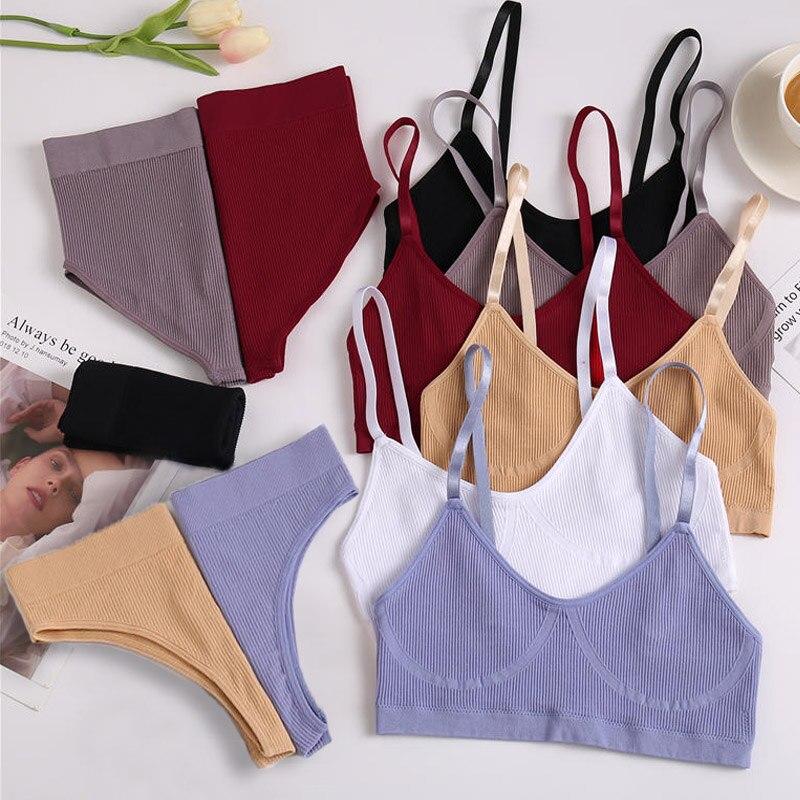 Women Bra Set Panties Sexy Push Up Bralette Female Fitness Seamless Underwear Sports Lingerie Brassiere Set Tank Crop Tops