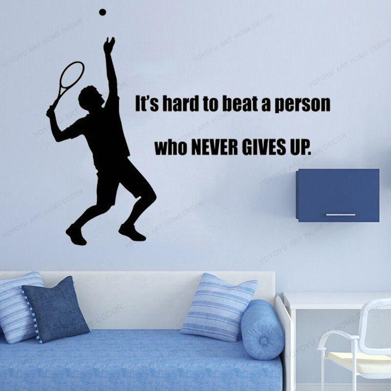 Es difícil golpear a una persona que nunca da cita tenis pared calcomanía decoración del hogar tenis pared pegatina vinilo para la habitación de los niños HJ667