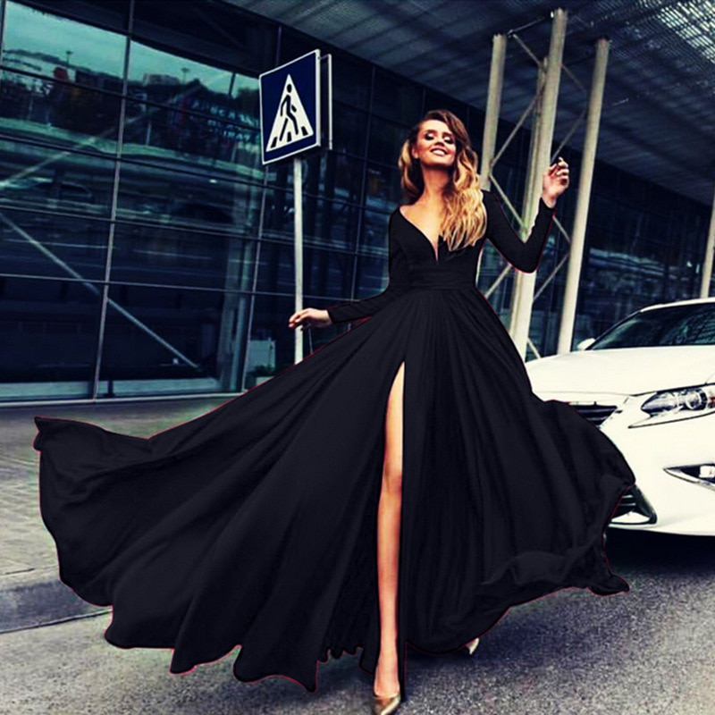 evening dress new style dresses hot style blue floor-length sexy deep V-neck long sleeve prom ball gown dress