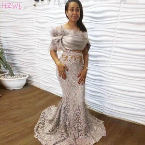 2021 Silver Lace Evening Dress Off Shoulder Feathers Modest Mermaid Prom Dresses Sexy See Through Formal Gowns Robe De Soiree