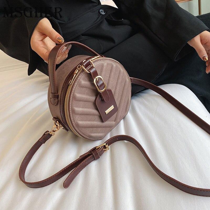 Vintage esfrega couro redondo crossbody saco para as mulheres 2019 couro do plutônio bolsas de ombro senhoras pequenas bolsas mini sacola