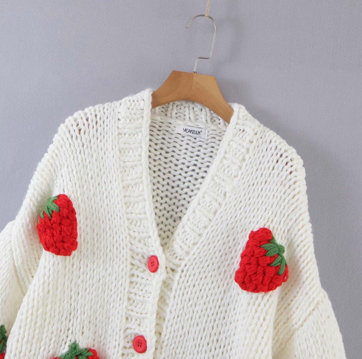 High Quality Sweater Women Knitwear American Ins Retro Handmade Knitted Cardigan Three-dimensional Cartoon Crochet Thick Coat enlarge