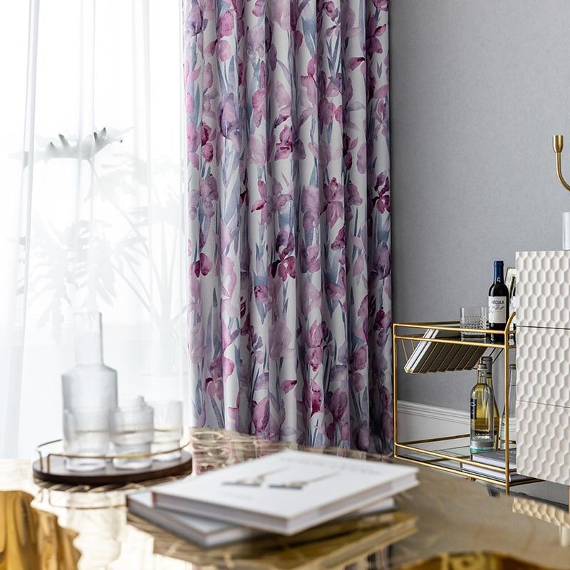 ستائر معتمة جديدة بسيطة بألوان مائية مزهّرة مطبوعة لغرفة المعيشة وغرفة النوم