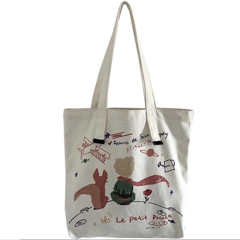 Wholesale Fashion Canvas Bag Large Folding Tote Eco Foldable Cotton Bags Canvas Handbag Cartoon Shopping Bag 10pcs For Sale