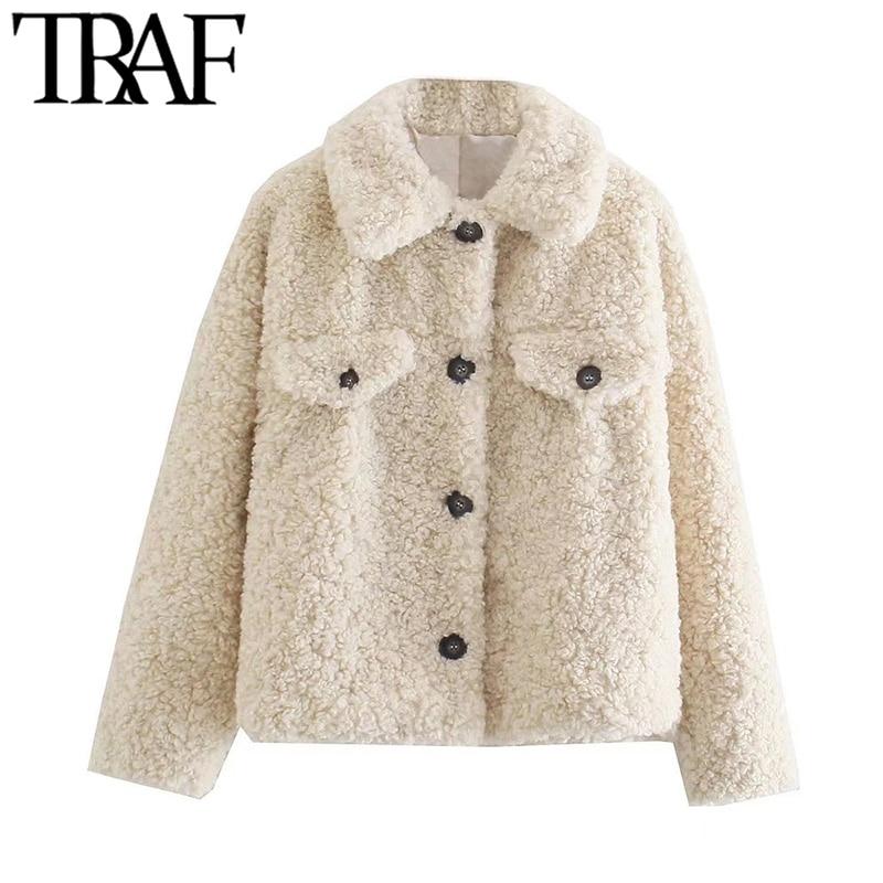 TRAF موضة النساء سميكة الدافئة فو الفراء فضفاض تيدي معطف خمر جيوب طويلة الأكمام الإناث ملابس خارجية شيك Overshirt