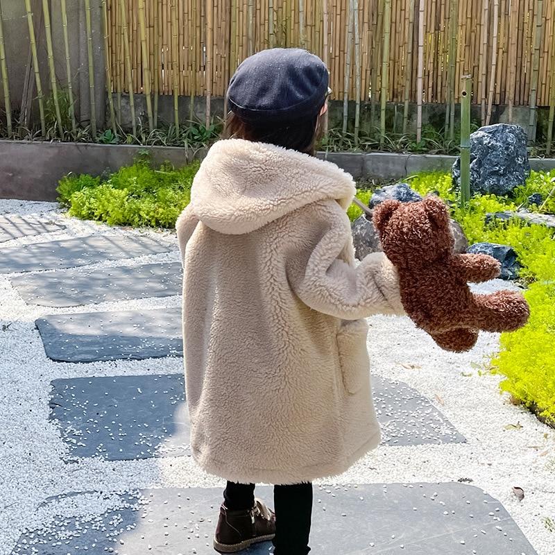 Long Warm Wool Baby Girls Coats Hooded Windproof Boy Jacket Outdoor Fleece Children Outerwear Teenage Kids Winter Clothes enlarge