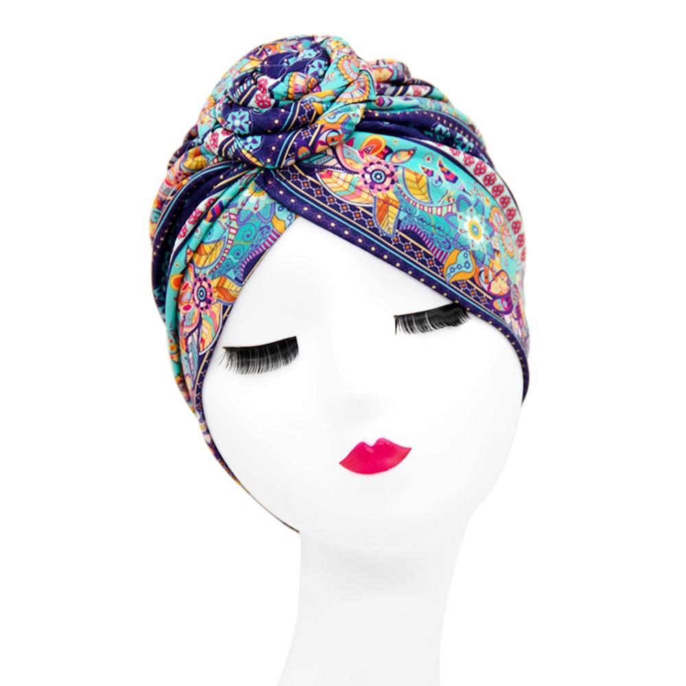Indian arab wrap women head scarf turban caps trendy printed hijab bonnet Bohemian ethnic inner hija