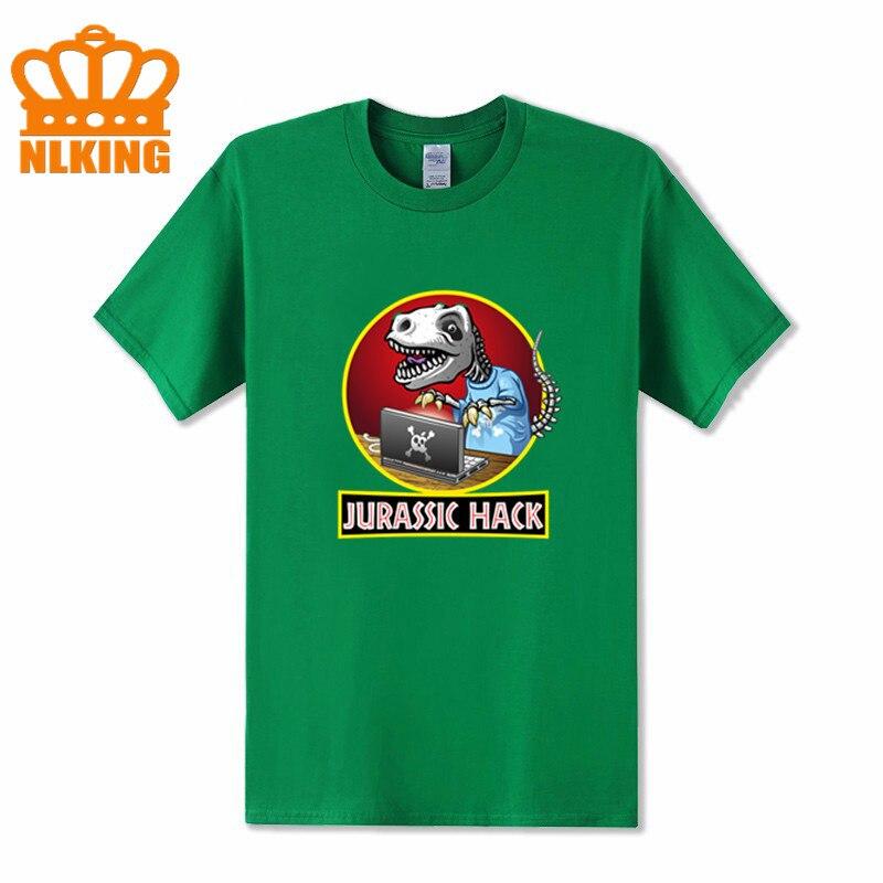 Camiseta masculina con diseño de parodia Jurassic hack para hombre, Camiseta con diseño divertido de dinosaurio y ordenador hacker, Camiseta Hipster de dino park