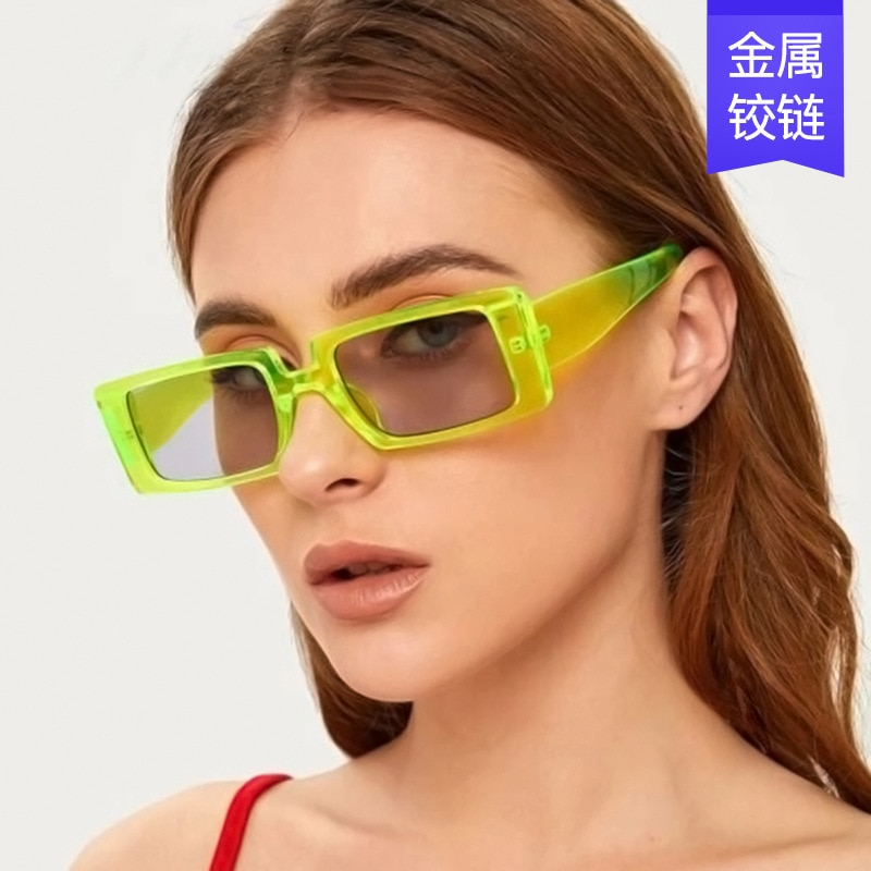 The new fashion trend in square sunglasses female transparent color personality sunglasses street sn