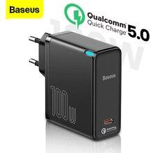 Baseus PD 100W Ган USB C зарядное устройство Quick Charge 5,0 QC 4,0 Type C для быстрой зарядки для iPhone 12 Samsung Xiaomi MacBook ноутбука USBC