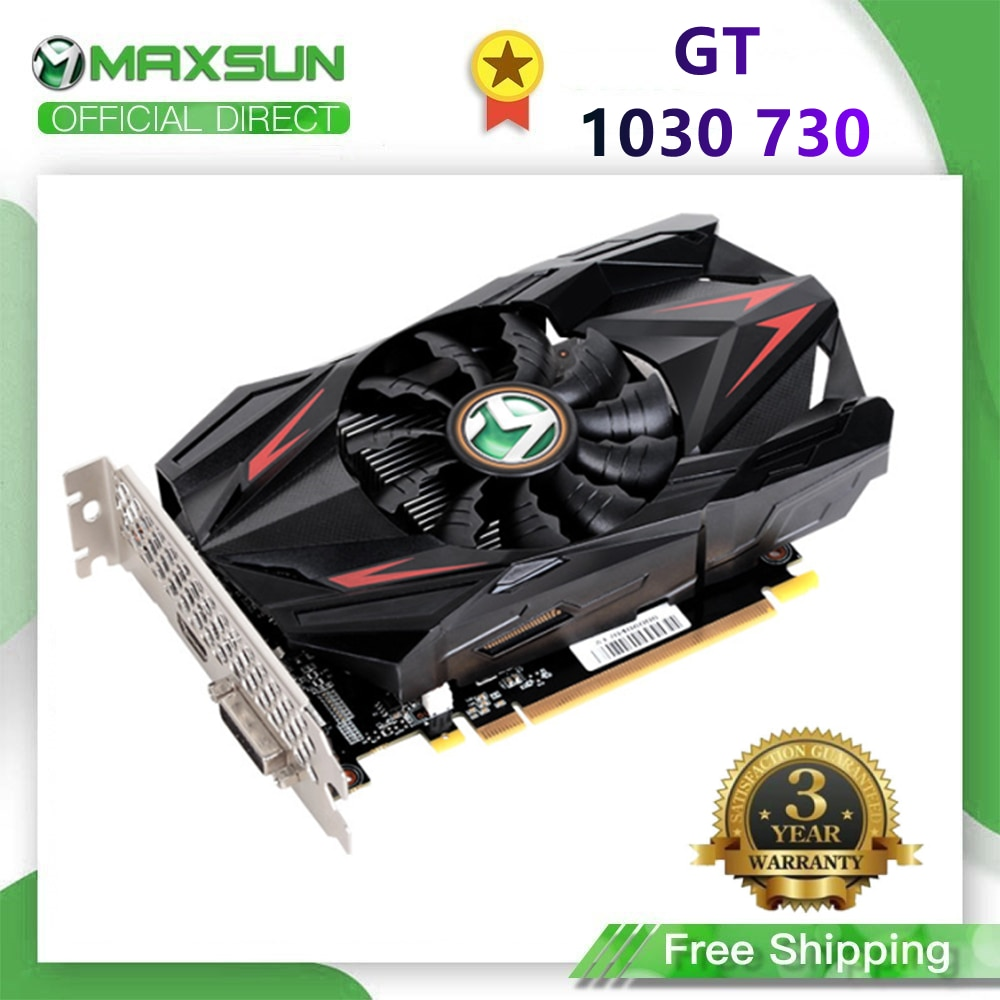 بطاقة رسومات Maxsun GT 1030 730 2G/4GB GDDR5/DDR4 Nvidia GPU بطاقة فيديو سطح المكتب الألعاب DVI PWB التحكم الذكي في درجة الحرارة
