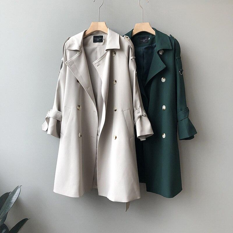 Gabardina larga para mujer, ropa de otoño, chaquetas coreanas informales, abrigo largo