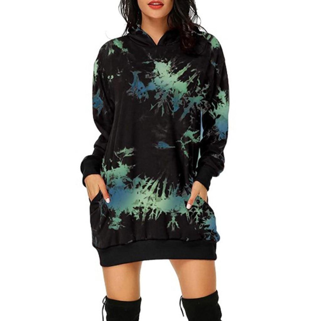 40 # sweat à capuche pour femme robe mode cravate-colorant sweats à capuche sac poche hanche sweat à capuche imprimé sweat à capuche robe hiver chaud sweat robes