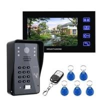 7inch video door phone intercom doorbell with rfid password ir cut 1000tv line camera wireless remote access control system