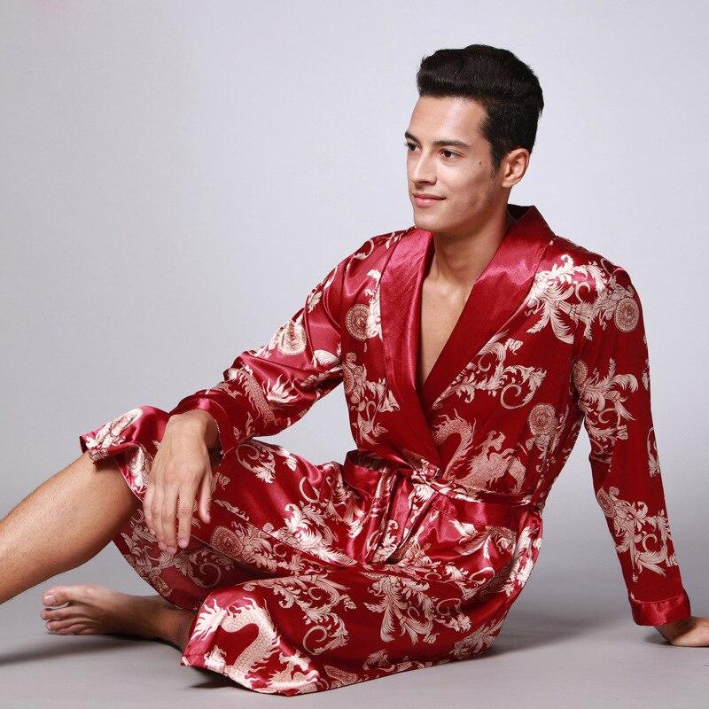 Мужчины шелк лето и осень атлас кимоно халат золотой дракон колено длина длинный рукав черный ванна халат халат халат одежда для сна