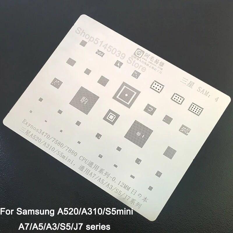 Para Samsung A3 A5 A7 S5 J7 BGA Stencil A310 A520 S5mini Exynos3470 7580. 7880 IC CPU RAM Chip Reballing pin de calefacción plantilla