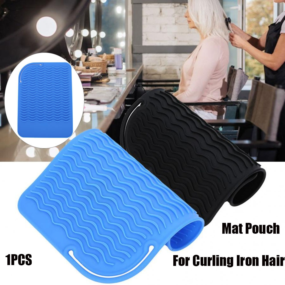 Silicone resistente ao calor esteira bolsa para curling ferro alisador de cabelo multifuncional tapete de silicone para plana ferro ferramenta estilo cabelo
