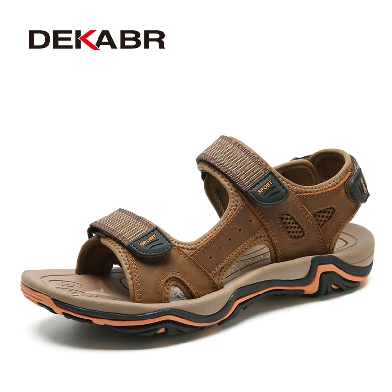 DEKABR-صندل من جلد البقر مسامي للرجال ، أحذية صيفية عصرية ، نمط غير رسمي ، للشاطئ
