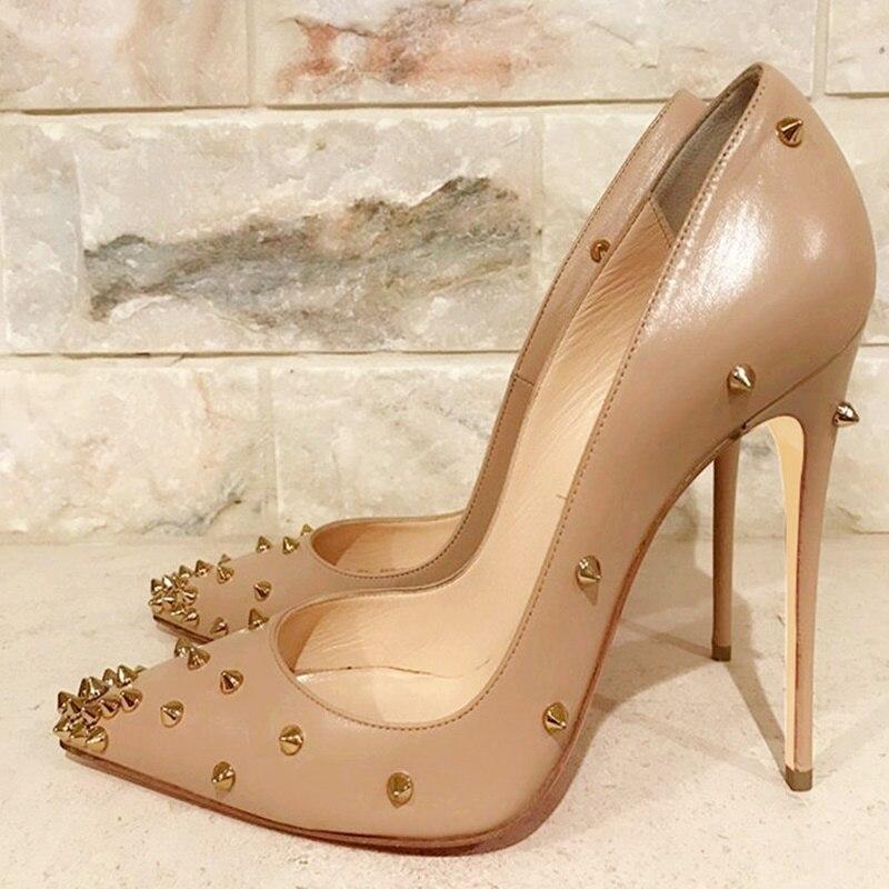 Туфли женские на шпильке-шпильке, элегантные туфли-лодочки с заклепками, матовая кожа, золотистые шипы, обувь под платье, высокий каблук, беж...