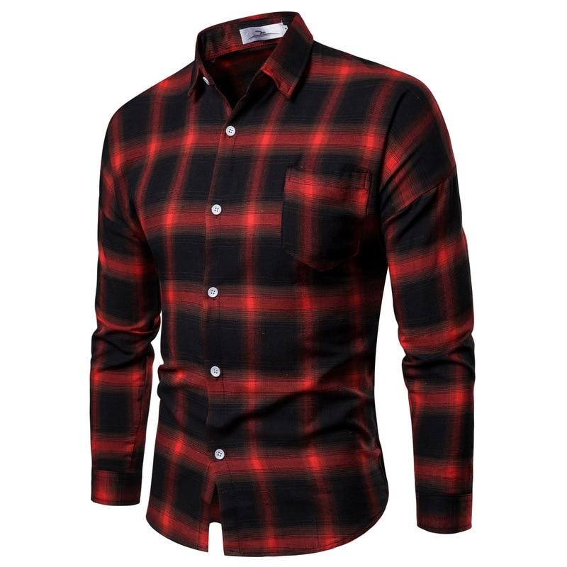 Мужская летняя новая стильная мужская рубашка с длинным рукавом, повседневный модный Свободный кардиган, клетчатая рубашка