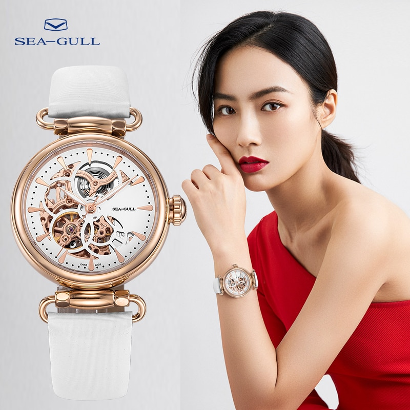 Seagull watch ladies fashion automatic mechanical watch hollow transparent watch diamond watch goddess of time D513.634L