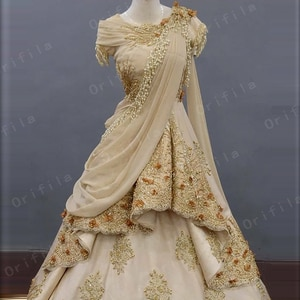 Champagne Lace Appliques Formal Indian Evening Gowns for Women Prom Dress with Cape Fas Kaftan Engagement Dress Long Party Wear