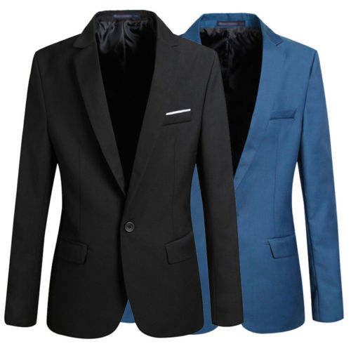 S-4XL Men's Formal Slim Fit Formal One Button Suit Long Sleeve Notched Blazer Cotton Blend Coat Jack