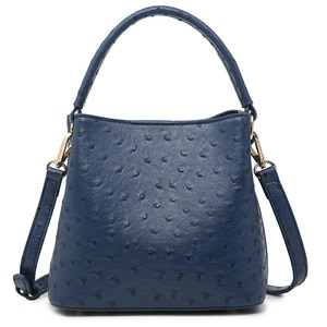 Ostrich Leather Bucket Bags For Women Spring Hobo Bucket Tote Bag Basket Lady Tote Purse