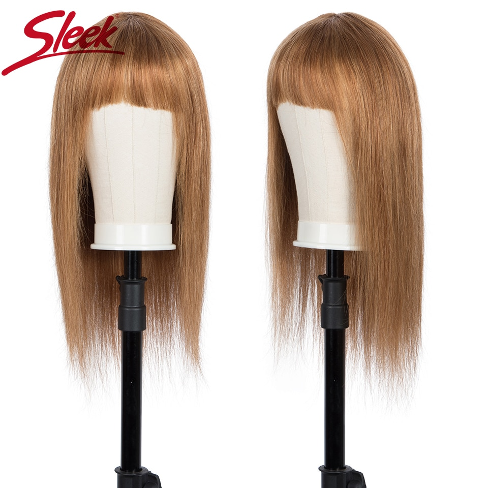 Sleek Short Human Hair Wigs Natural Brazilian Hair Wig For Women Straight Bob Wigs With Bang 30 Inch Blonde Ombre Cosplay Wig fashion side bang short straight orange charming kousaka honoka cosplay wig with double chignons
