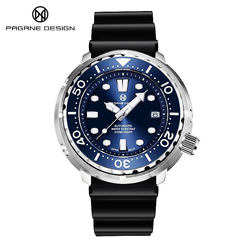 PAGRNE تصميم 300 متر غواص الرياضة الميكانيكية ساعة رجالي فاخر الياقوت الزجاج NH35 موضة الأعمال التلقائي ساعة Reloj Hombre